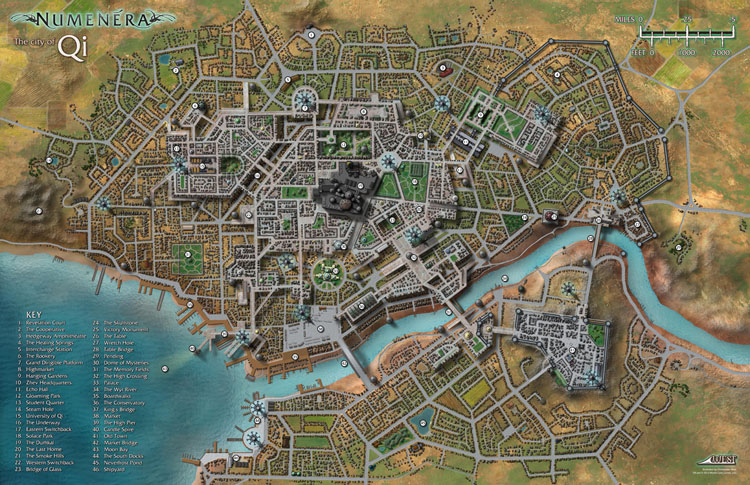 Maps of mastery numenera map pack 2 double sided poster map the city of qi and technological facility gumiabroncs Image collections